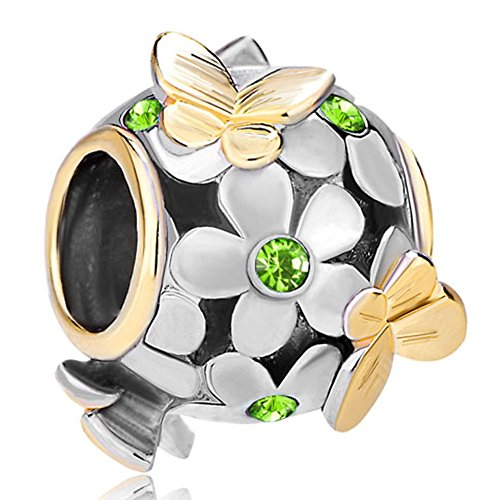 LovelyJewelry Butterfly Flower Charms August Peridot Birthstone Flower Beads For Bracelets (Flower Peridot Charm)
