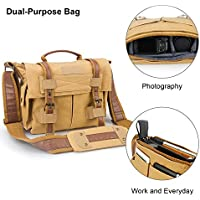ESDDI Camera Bag, Vintage DSLR Camera Shoulder Bag with Removable Insert for Canon Nikon Sony Pentax, Daily Use without Insert, Khaki Brown