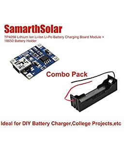 Samarth Enterprises TP4056 MiniUSB 5V 1A 18650 Lithium Battery Charger Protection Board and 18650 Holder