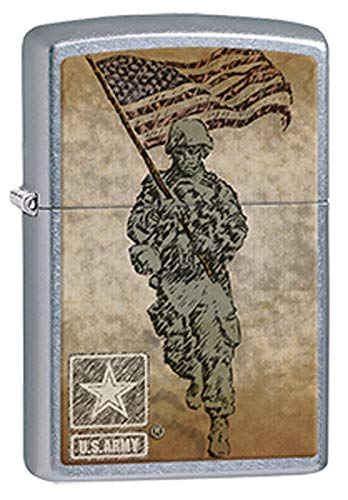 US Army Battle Dress Uniform Soldier Carrying American Flag Chrome Zippo Lighter