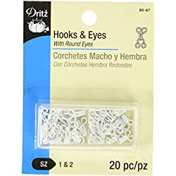 Dritz White Hooks & Eyes 2/Pkg-Size 1 & 2