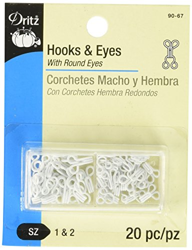 Dritz 90-67 Hook & Eye Closures, White, Size 1 & 2 20-Count