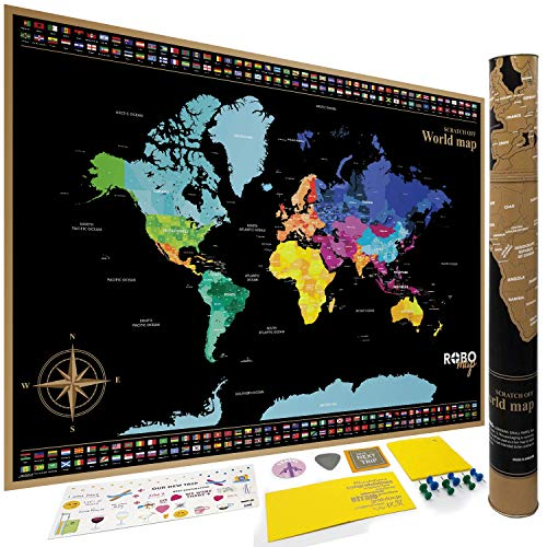 RoboMap: Premium XL Large Scratch off Map of the World for travellers | States outlined for USA, Canada etc | Country Flags | Best Quality Paper | Most Vibrant Colors