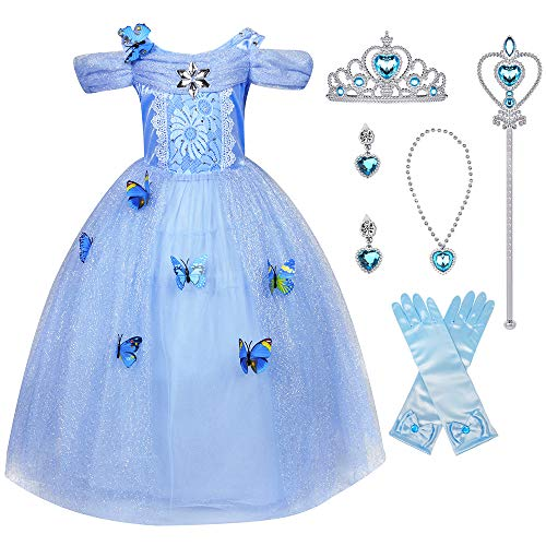 Cinderella Child Costume (LENSEN Tech Little Girl Princess Cinderella Costume Butterfly Dress with Accessories(Cinderella with Accessories, 6-7)