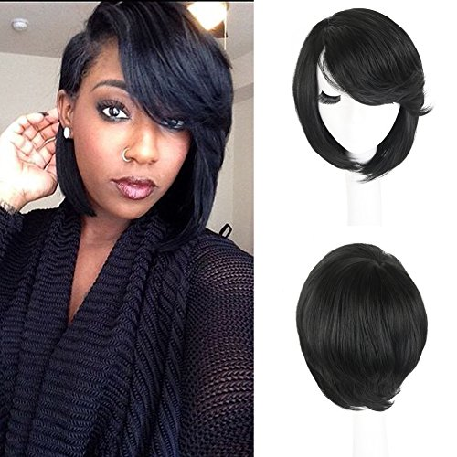 SCENTW Short Cut Bob Synthetic Wigs for Women Heat Resistant Costume African American Wigs with Side Bangs Natural Black Full Wigs Look Real (8764 BLACK)