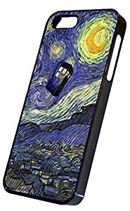 iPhone 5 Hard Case Black, Tardis Vincent van Gogh Design, iPhone 5s Hard Cover Black, by Sublifascination USA, DOES NOT FIT THE IPHONE 5C, No. 370