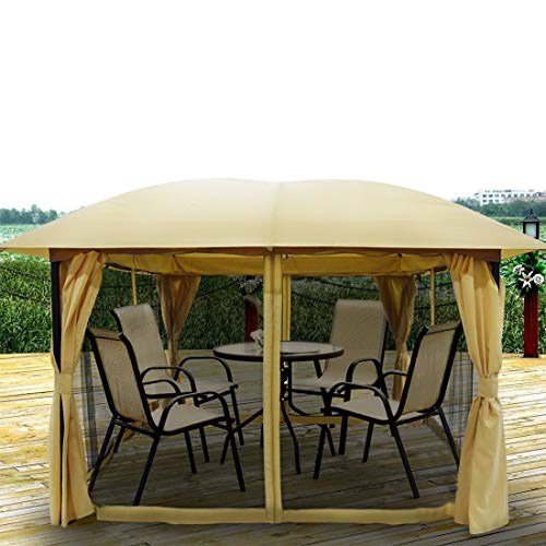 Quictent 12x12 ft Metal Gazebo Canopy Pergola with Mesh Screen Netting Curtains Heavy Duty 100% Waterproof for Deck, Patio and Backyard (Tan)