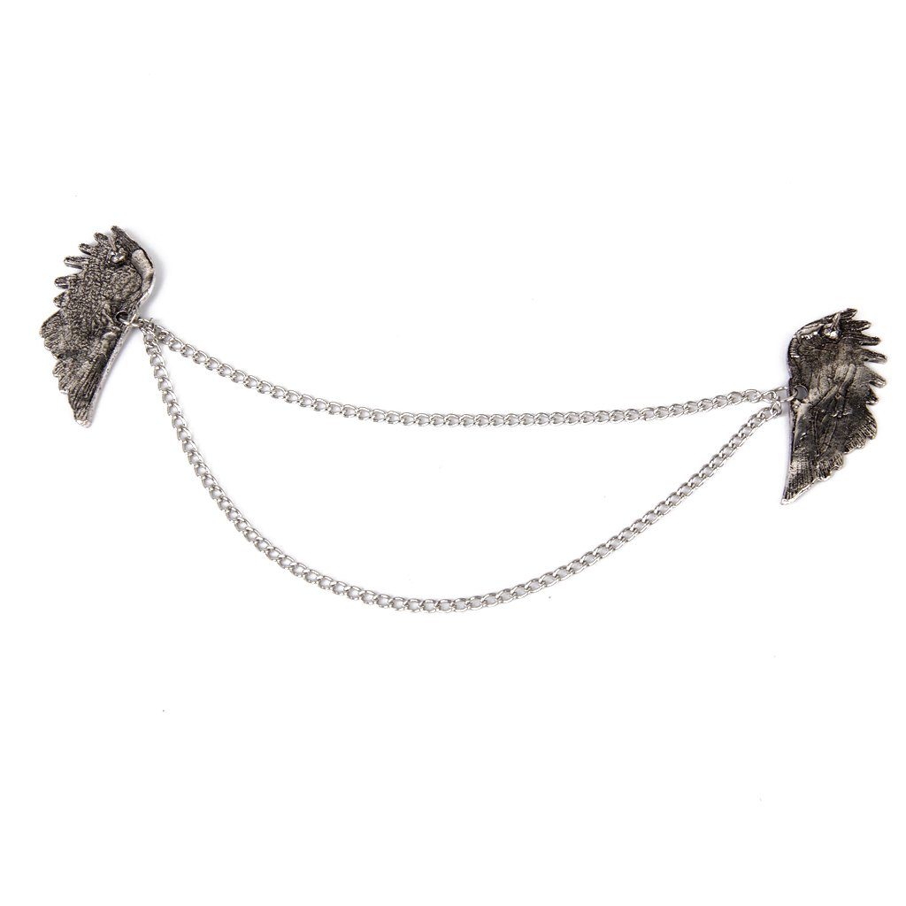 Angel Wings Dangle Chain Collar Tip Shirt Stud Brooch with Rhinestones Silver by Generic (Image #3)