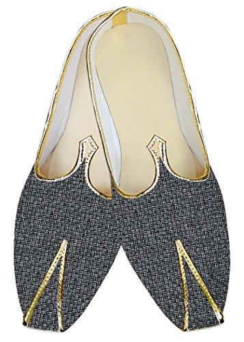 Inmonarch Mens Chaussures De Mariage En Jute Gris Bollywood Mj014219