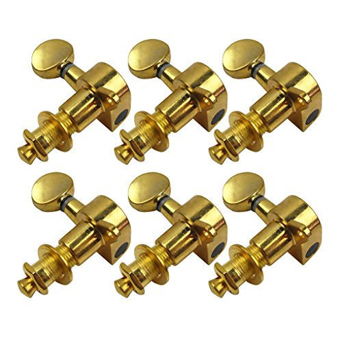 IKN 6-in-line Sealed Electric Guitar String Tuning Pegs Keys Machine Head Tuners Set Left Hand, Golden Color - 6 In Line Tuning Keys