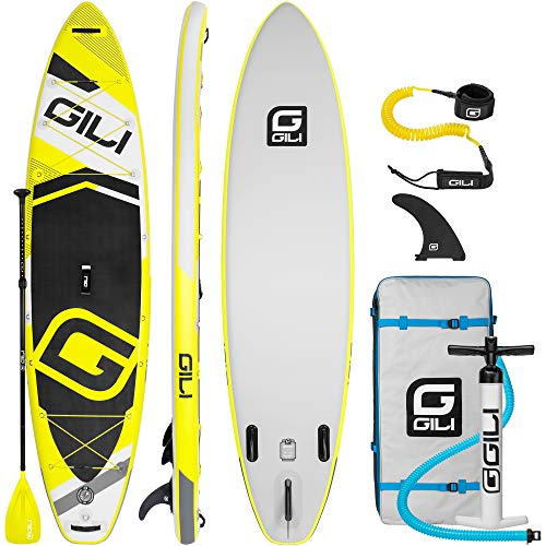 GILI Adventure Inflatable Stand Up Paddle Board: Lightweight, Durable Touring SUP: Wide & Stable Stance 11′ x 32″ x 6″ Thick (Yellow)