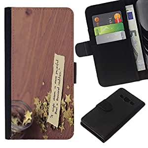 NEECELL GIFT forCITY // Billetera de cuero Caso Cubierta de protección Carcasa / Leather Wallet Case for Samsung Galaxy A3 // Lucky Star en la mesa