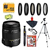 Sigma 18-250mm f3.5-6.3 DC MACRO OS HSM Lens with UV, CPL, FLD, ND4 and +10 Macro Filters for Canon EOS 70D, 60D, 60Da, 50D, 7D, 6D, 5D, 5Ds, Rebel T6s, T6i, T5i, T5, T4i, T3i, T3, T2i and SL1 Digital