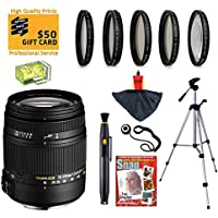 Sigma 18-250mm f3.5-6.3 DC MACRO OS HSM Lens with UV, CPL, FLD, ND4 and +10 Macro Filters for Canon EOS 70D, 60D, 60Da, 50D, 7D, 6D, 5D, 5Ds, Rebel T6s, T6i, T5i, T5, T4i, T3i, T3, T2i and SL1 Digital SLR Cameras