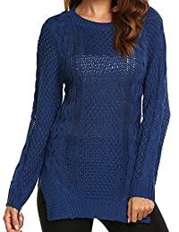 Meaneor Women Loose Round Neck Long Sleeve Knitted Pullover Jumper Sweater,S-XXL