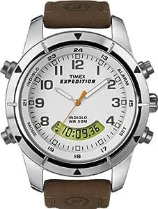 Timex Expedition Metal Combo - Reloj de caballero de cuarzo, correa de piel color marrón (con cronógrafo)