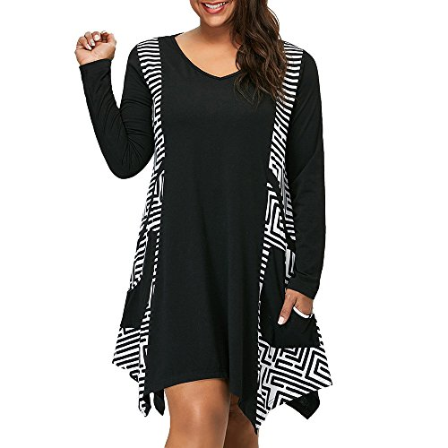 iLUGU Urbanization Knee-Length Dress for Women Long Sleeve V-Neck Asymmetrical Hem Geometric Frills Pockets Plus Size Black ()