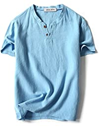 Men Linen Cotton V Neck Short Sleeve T Shirts Casual Tee