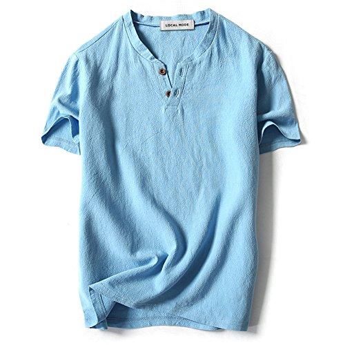 LOCALMODE Men Linen and Cotton V Neck Short Sleeve T Shirts Casual Tee Sky Blue - Linen Fashion