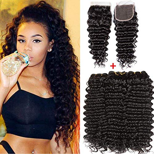 Brazilian Human Hair Deep Wave 3 Bundles with closure 100% Unprocessed virgin Human Hair Extensions Natural Black Color (100+/-5g)/pc (22 24 26 +20, natural black)