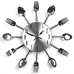 Modern Design Cutlery Wall Clock, Sliver Kitchen Utensil Wall Clock Spoon Fork Clock Home Decor(Quartz Movement)