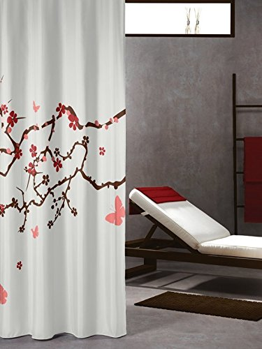 Delicate Extra Long Shower Curtain 72 X 78 Inch Sealskin Blossom Print White Fabric