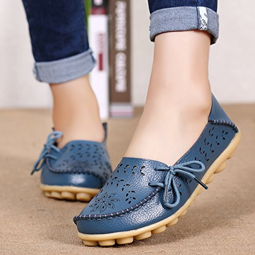 Flats Blue IRuis Driving Lady Boat Women's Pumps Moccasins Loafers Shoes Slipper Carving Causal Hollow Out FxHfFwqPT