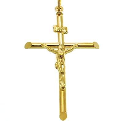 9ct Solid Yellow Gold Jesus on Cross Crucifix Pendant 26 x 17mm In Presentation Gift Box gDUVTSOd07