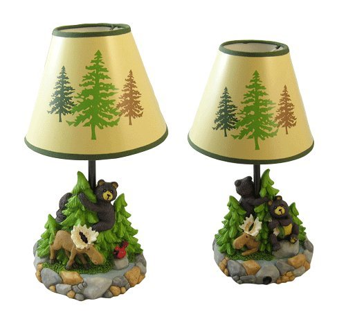 Bear Moose Table Lamp Desk W/ Shade Hand Painted Sculptured Night Light Lamp
