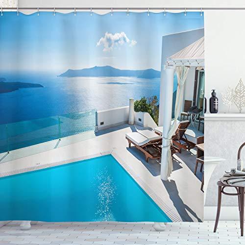 Ambesonne Aqua Shower Curtain, Architecture of The Santorini Island Greece Swimming Pool Blue White Hotel Sea View, Cloth Fabric Bathroom Decor Set with Hooks, 84