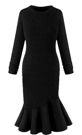 Comfy-Women Scoop Neck Solid Long-Sleeved Mermaid?Dress Evening Dresses Black M