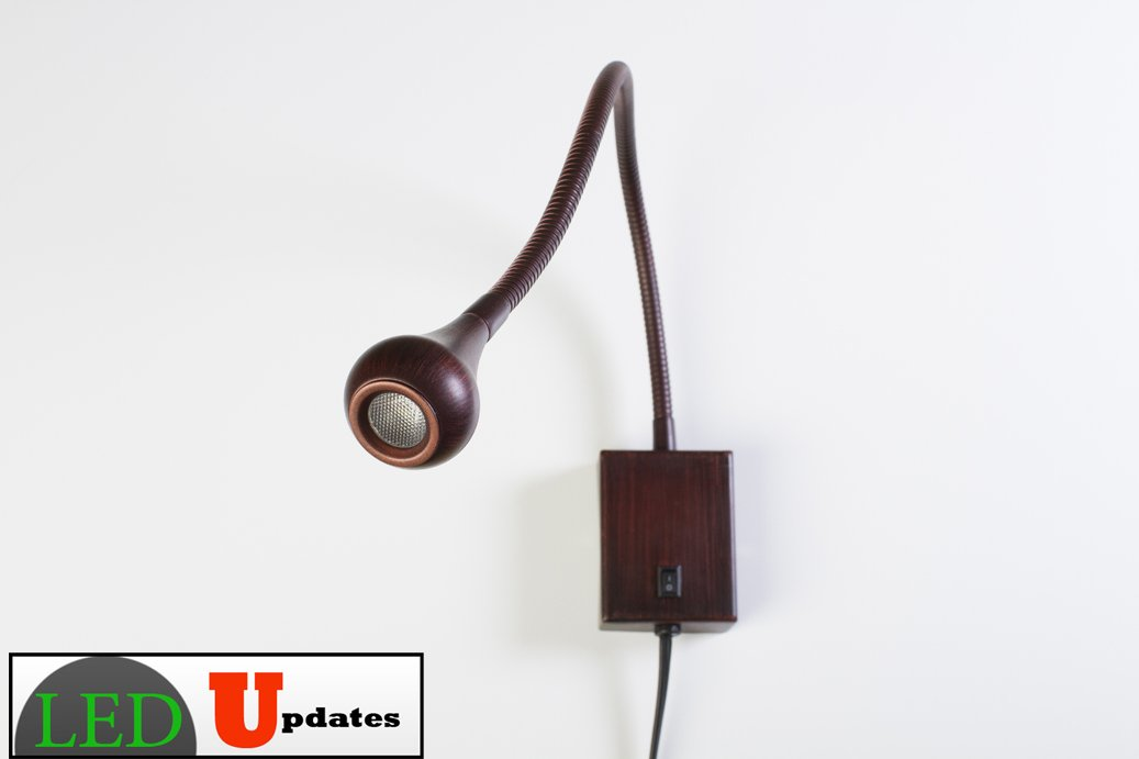 LEDupdates Bed side Gooseneck Reading LED light wall mounted bronze finish 5000K