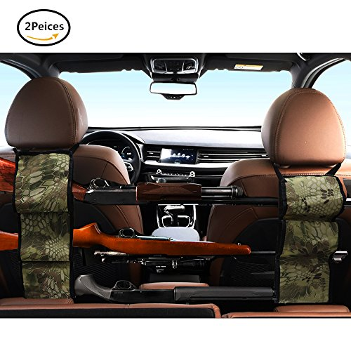 Seat Back Gun Rack - Sling Storage Organizer with Pockets For Rifle Hunting - Hunting Gun Organizer Holder Rack Accessories For Hunting Shotgun in Cars Trucks SUV Python Camo 1 Pair (2 pieces) (Saddle Python)