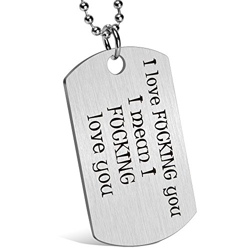 Gift for Boyfriend Husband Personalized Dating Whisper Dog Tag Necklace Pendant Naughty Words Jewelry Couples Keychain Gift for Valentine's Day Anniversary (♥me too)