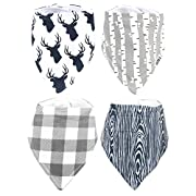 Stadela Baby Adjustable Bandana Drool Bibs for Drooling and Teething Nursery Burp Cloths 4 Pack Baby Shower Gift Set for Boys – Woodland Deer with Wood Plaid Birch Tree Forest Animal