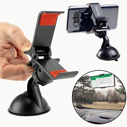 Agoz 360° Rotating Car Windshield Mount Holder Stand Cradle With Suction Cup For Samsung Galaxy S9 Plus, S9, Note 8/9, S8, S7,J7, J7V, Sky PRO, Prime, Perx J3 Emerge,Eclipse,J3V,Moto G5 PLUS,LG Sylo