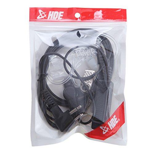 HDE Covert Surveillance Headset 2-Pin Acoustic Tube Earpiece & Microphone Compatible with Motorola Radio Devices