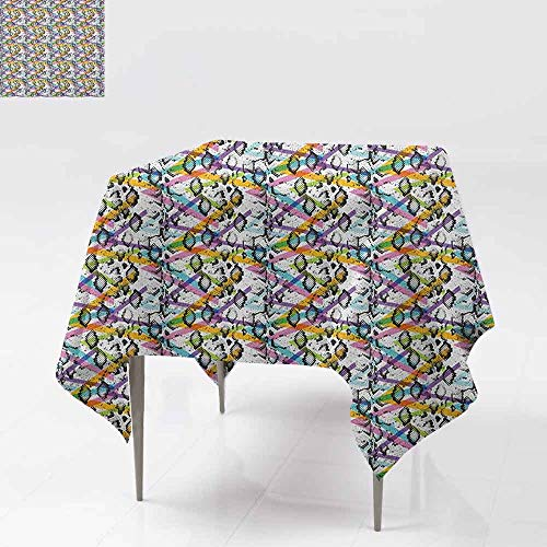(AndyTours Spillproof Tablecloth,Animal Print,Abstract Snake Skin Pattern with Colorful Geometrical Lines Modern Hipster,Great for Buffet Table, Parties& More,36x36 Inch Multicolor)