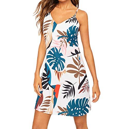 - Printed Dress,Pinlehg Women Summer Sexy V-Neck Beach Holiday Print Slim Fit Mini Dress Collar Sleeveless Beach Dress Spaghetti Strap Above Knee Sexy Dress