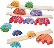 Wooden Elephant Balance Stacking Game Individual Size and Color Matching Educational Toy for Children 3 4 5 6