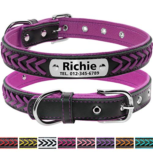 Vcalabashor Custom Leather Dog Collar/Braided Genuine Leather Name Plated Dog Collars for Small Medium Large/Personalized Engraved On Collar Pet ID Tags/Violet & Black/XS S M L