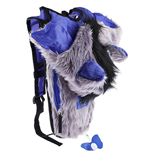 Dan-Pak Hydration Pack 2l - Rage Wolf- Rave Backpack with Grey,Purple,Blue Furry Mohawk Hood!