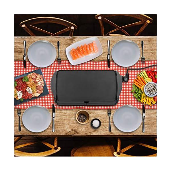 Duronic GP20 Piastra elettrica da tavolo anti aderente 2000W Piastra per teppanyaki superficie grill da 52 x 27 cm con… 7