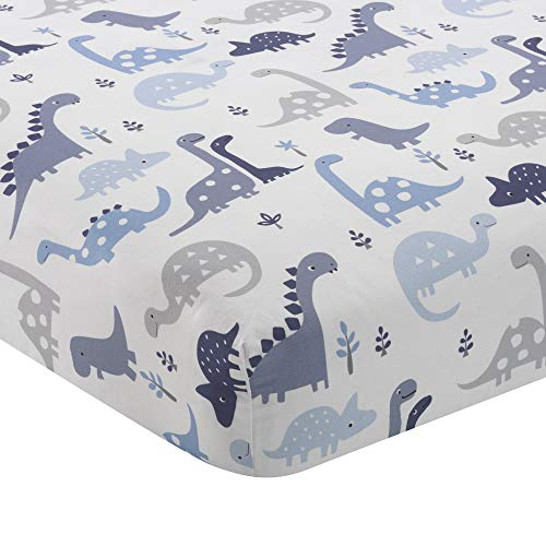 Bedtime Originals Roar Blue/Gray/White Dinosaur Baby Fitted Crib Sheet
