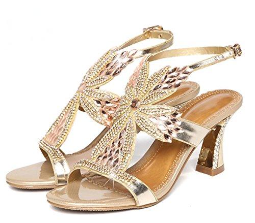 On Los Mujer Sandalias de Kitzen Sandalias Slip De Bajo De Nupcial Gold Mediados Boda Womens Diamond Estilete Tacones qfw17nx7X
