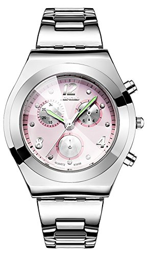 Price comparison product image Gosasa Fashion Brand Watch Women's Classic Silver-Tone Pink Dial Analog Quartz Watch