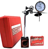 """KHCRAFT Professional Dial Indicator Magnetic Base: Dial Indicator 0-1""""x0.001"""" Steel Hardened, Magnetic Base"""