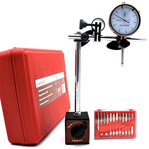 "KHCRAFT Professional Dial Indicator Magnetic Base: Dial Indicator 0-1""x0.001"" Steel Hardened, Magnetic Base 130lb Fine Adjusted, Indicator Points Set 22-Piece in Blow Mould Case"