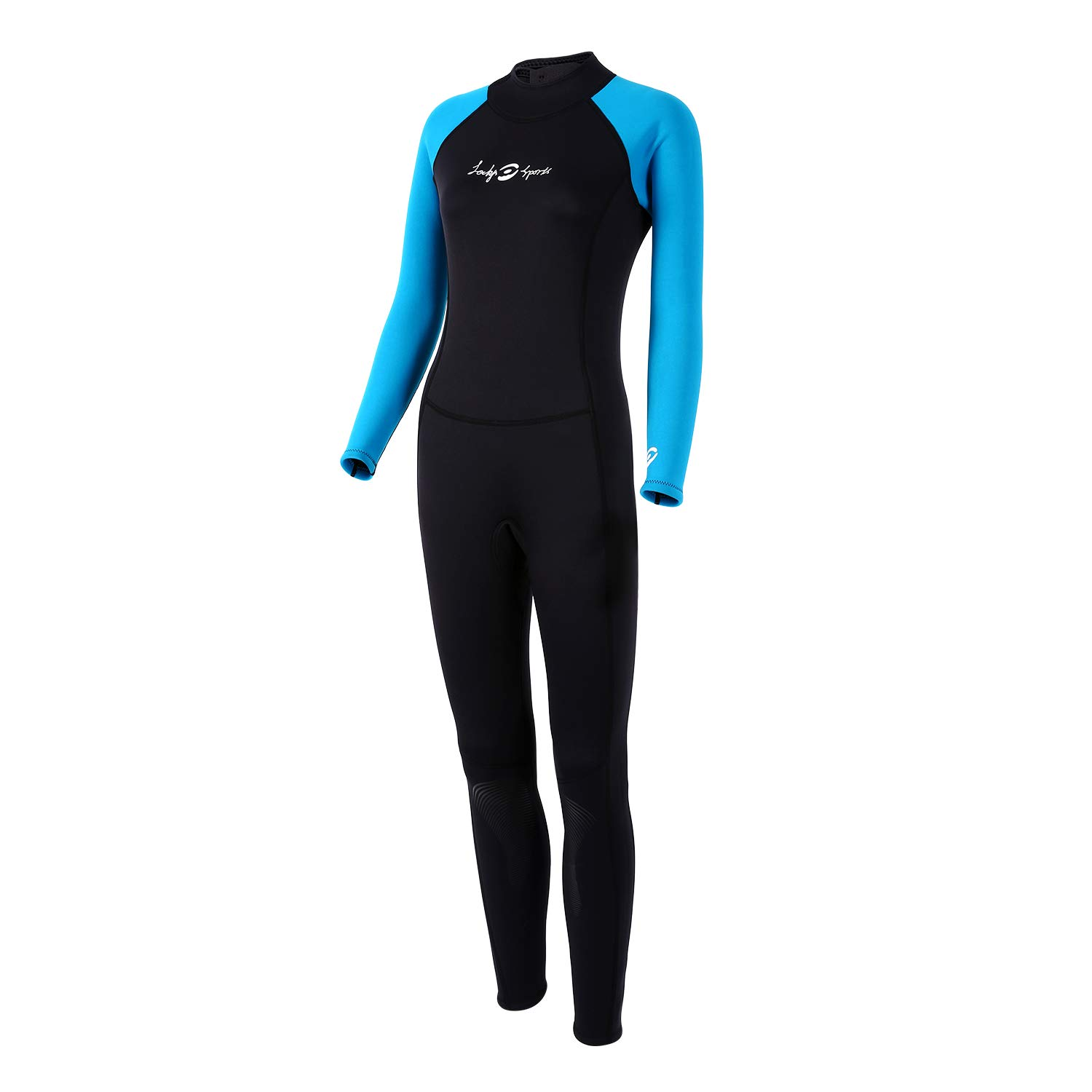 lockys sports Womens Full Wetsuits,Full Body Diving Suit Premium Neoprene Long Sleeve Long Leg BackZip with Adjustable Collar for Diving Surfing Snorkeling for Women (Medium) by lockys sports