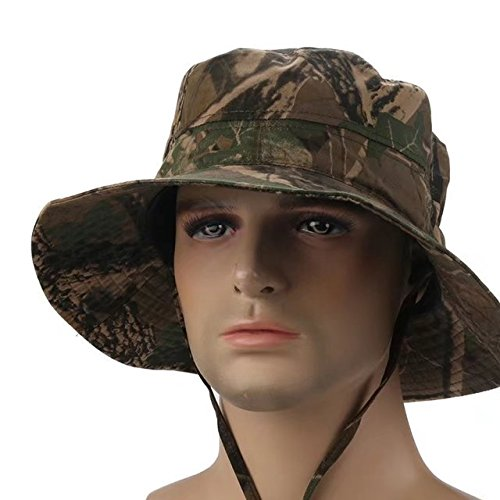 Vrcoco Men Summer Wide Brim Fishing Hat Camouflage UPF35+ Protection Bucket Mesh Boonie Hat Floppy Hat for Hiking Camping Traveling(1pc,Random color)